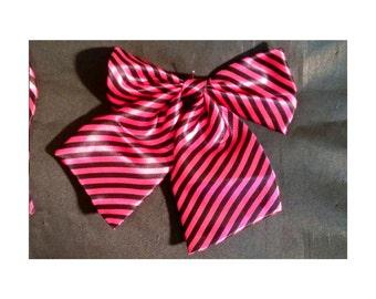 Pink & Black Striped Ribbon Bow