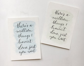 """Million Things I Haven't Done // Handlettered """"Alexander Hamilton"""" Lyrics with Watercolor // Hamilton the Musical"""