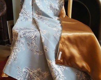 THROW..handmade toile de jouy with antique gold satin back
