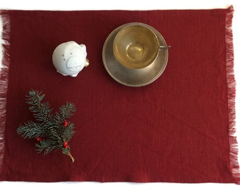 Set of Dark Red Placemats, Red Linens, Shabby Chic, Holiday, Placemat Set, Natural Linen, Rectangular, Vintage Style