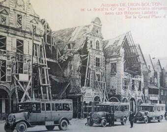Vintage Postcard Antique Autobus Dion-Bouton Grand Place D'Arras France French Busses w/ free ship