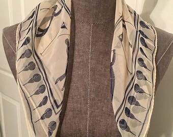 Vintage creme and navy Golf scarf 21x21