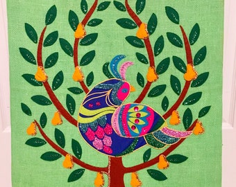 Vibrant vintage partridge in a pear tree on green burlap! Stunning! 22x28 inches. Estimated to be made in late 1980s early 1990s.