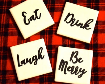 Eat, Drink, Laugh, Be Merry Tile Magnet Set- The Kevin Collection