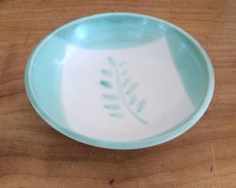 Small Ceramic Bowl with  Leaf Design, Hand Painted Pottery Bowl
