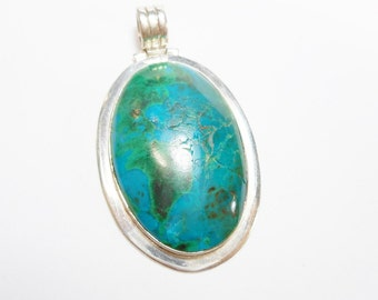 Sterling Pendant, Southwestern, Vintage Pendant, Silver Pendant. 950 Sterling Silver Bezel Set Blue Green Stone Pendant #2341