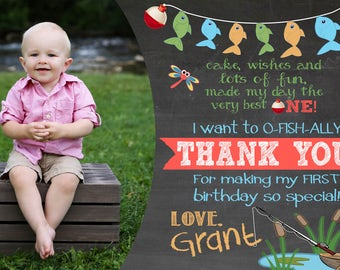 O-fish-ally One First Birthday Thank You Card, Reeling in the big ONE fishing theme first birthday thank you notes, It's O-fish-al thank you