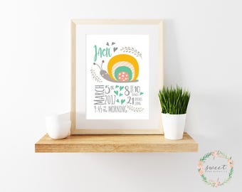 Birth Announcement, Print, Nursery Wall Art, Baby Boy, Baby Girl, Neutral, Snail, Personalized, 8x10