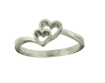 Silver Double Heart Ring #4950 Size 7