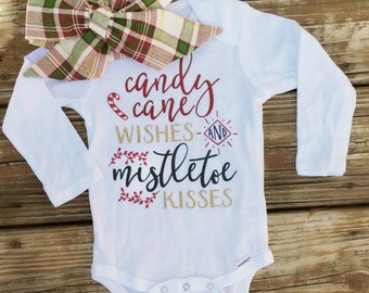 Candy Cane Wishes and Mistletoe Kisses Onesie & Christmas Wishes Head Wrap - Christmas Outfit - Baby Christmas Outfit