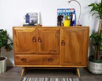 SOLD   Ercol Sideboard - Splayed Legs - Retro Vintage 50s 60s 70s Elm - Refinished