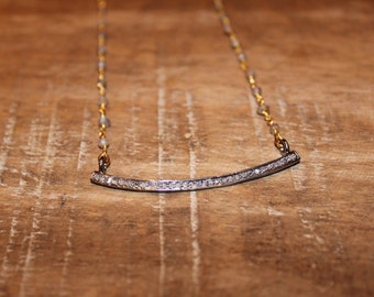 Pave Diamond and Rosary Chain Necklace