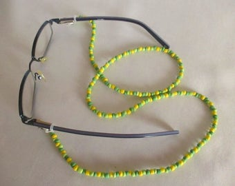 Necklace Bracelet 3-in-1 selfmade handmade green yellow tones length 68 cm