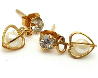 Miniature Heart Gold Tone Drop Earrings Clear Rhinestone Vintage from the 90s Cute girl's gift