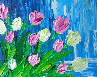 Flower Painting, Palette Knife Art, Pink Tulips, Impasto Painting, Textured Floral Art, Original Abstract Acrylic Painting, Wall Art Canvas