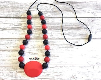 Silicone teething necklace, baby teething necklace, baby wearing necklace, food-grade silicone, shower gift, red, black, grey, machouille