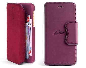 iPhone 6 Case - Leather Wallet Case iPhone 6 - iPhone 6 Wallet Case - Leather Flip Case iPhone 6 - Cards Pocket - Stand - PURPLE