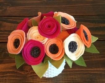 Felt Flowers on Stems with Leaves, Felt Flower Bouquet, Baby Girl Shower Flower Decor, Wedding Decor flowers, Home Decor Flowers
