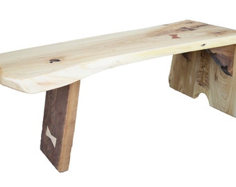 Handcrafted Elm and Walnut Live Edge Waterfall Bench/Coffee Table, Fast Shipping