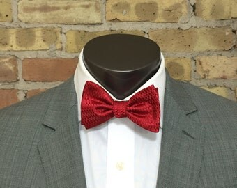 Candy Apple Red Silk Bow Tie