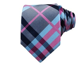 Pink and Electric Blue Plaid Silk Slim Modern Tie