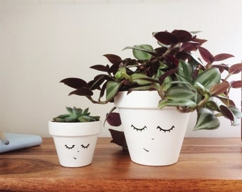 Two Minimal Planters - Home Decor - Succulent Planters - Scandinavian - Office Planter - Hygge Decor - Cactus Pots - Desk Accessories