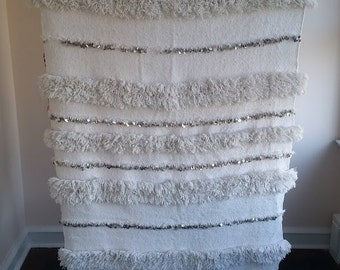 "Moroccan Wedding Blanket/Handira- Wool with Sequins ""Amina"""