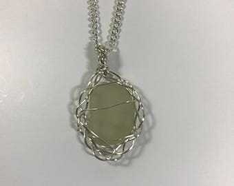Wire-Framed Clear Sea Glass Pendant