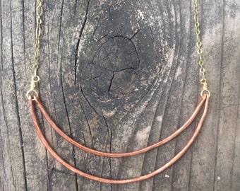 Crescent Moon Necklace Hammered Copper Necklace Mixed Metal Necklace Minimalist Necklace Geometric Necklace