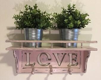 Blush Pink Distressed LOVE Wall Shelf