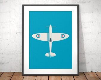 Supermarine Spitfire WWII RAF Fighter Aircraft Poster Art Print