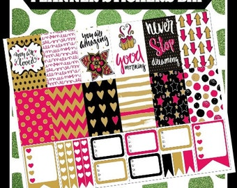 Pink and Gold Patterns BHP Big Happy Printable Planner Stickers Digital