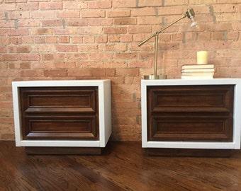 SOLD - Mid-century mod nightstand pair, vintage refurbished