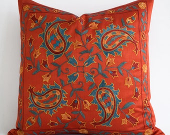 Embroidered Silk Red Suzani Pillow, Red Pillows, Red Teal Blue Yellow, Red Decorative Pillow, Red Pillow Sham, Red Pillow, Red Suzani Pillow