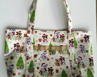 Christmas Dog Tote / Dog Tote /   Carryall Bag / Shopping Bag / Reusable Bag / Market Tote / Designer Tote / Shoulder Bag / Tote