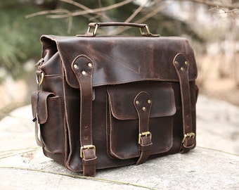 Dark Brown Leather Messenger bag/ Leather Bag/ Leather Briefcase / Leather School Bag/ Leather Mens Bag/ Personalized Bag