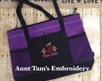 Personalized Teacher Tote Bag with Name, Preschool Teacher, Apple Tote, Teacher Gift