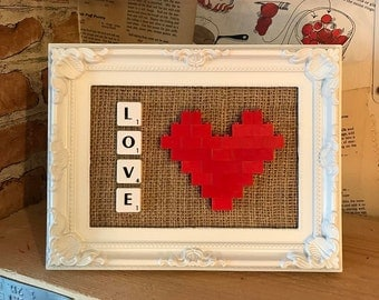 Lego Heart and Scrabble Frame - Red