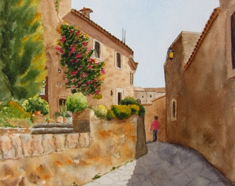Spanish Village painting flowering vines original watercolor 9x12