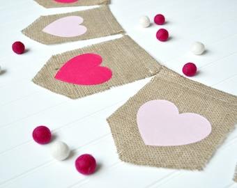 Valentines Day Sign, Valentines Day Burlap Banner, Valentines Day Decor, Heart Banner, Valentines Day Garland, Valentines Day Banner