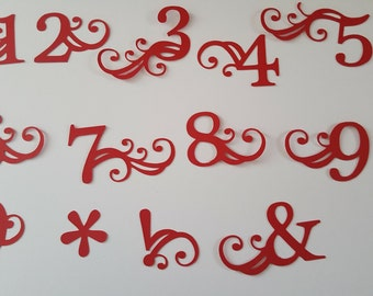 Full set of number die cuts for birthday cards, scrapbooking, paper crafts. Other colours available