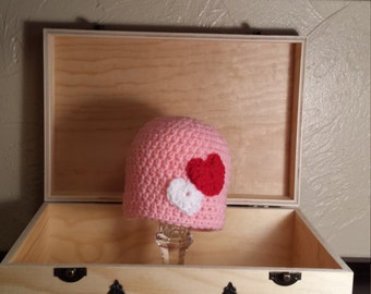 Baby valentine's hat- photo prop -crochet baby hat-ready to ship