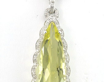 13.03CT Estate Pear Shape Lemon Quartz and Diamond Border 14K White Gold Pendant