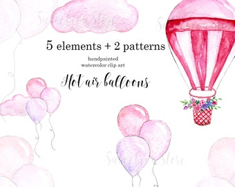 Hot Air Balloons Clipart Baby Clipart Pregnancy Nursery Watercolor Baby Shower Hot air balloons clipart Illustration Pink DIY Pack