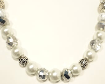 White with silver and sparkle