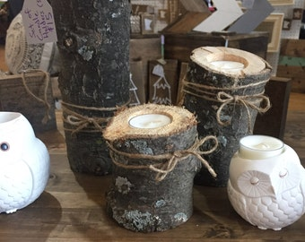 Rustic candle holders (set of 3)