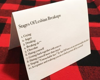 The stages of lesbian breakups card // Lesbian Divorce // Heartbreak // Ani DiFranco // Funny Breakup Card // Lesbian Relationship Card