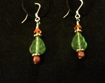 Very Merry Christmas Tree Earrings Swarovski Crystal Sterling Silver and Glass Pierced Ears