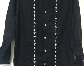Rare 90s Jean Paul Gaultier Shirt L/Sleeve Black/White.
