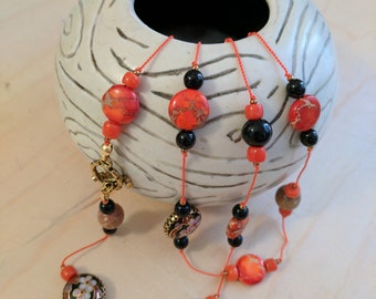 Beaded Necklace 32 inches.  Black Cloisonne, jasper, coral beads